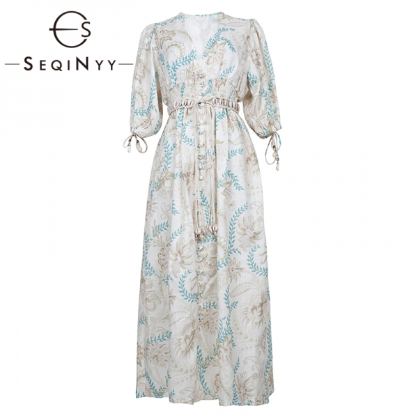 SEQINYY Vintage Dress Summer Spring New Fashion Design Half Sleeve Flowers Printed Elastic Waist Linen Cotton Loose Dress