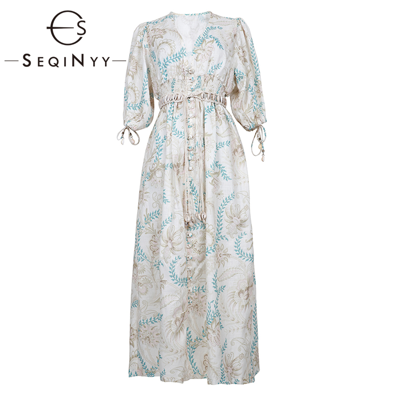 SEQINYY Vintage Dress  Summer Spring New Fashion Design Half Sleeve Flowers Printed Elastic Waist Linen Cotton Loose Dress
