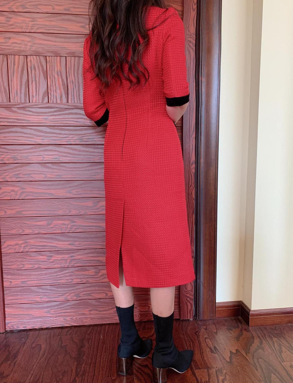 France style OL elegant half sleeves dress Brand new high quality women's high-rise dress B494 3