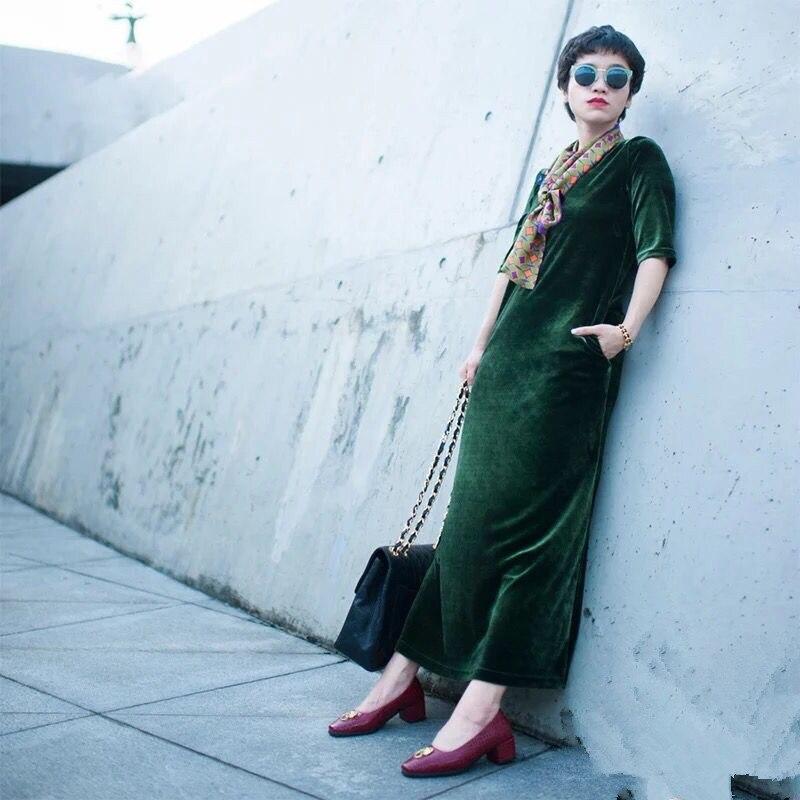19 New women Spring Autumn women half sleeve long velvet dress,Plus size M-6XL 7XL office velour dress Vintage Vestidos 2