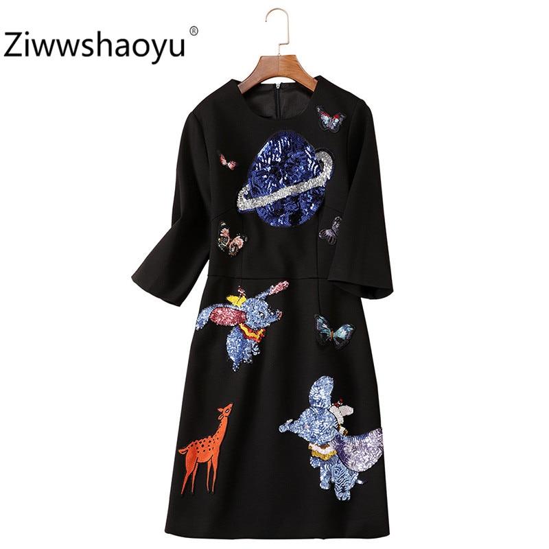 Ziwwshaoyu Women's Autumn Winter Vintage Black Dress Fashion Cartoon Sequin Embroidery Half Sleeve Dresses 1