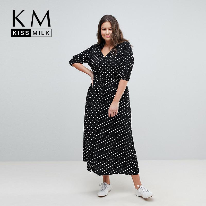 Kissmilk 19 Summer Office Polka Dot Vintage Autumn V-Neck Elegant Sundress For Women Plus Size Midi Half Sleeve Dress Female