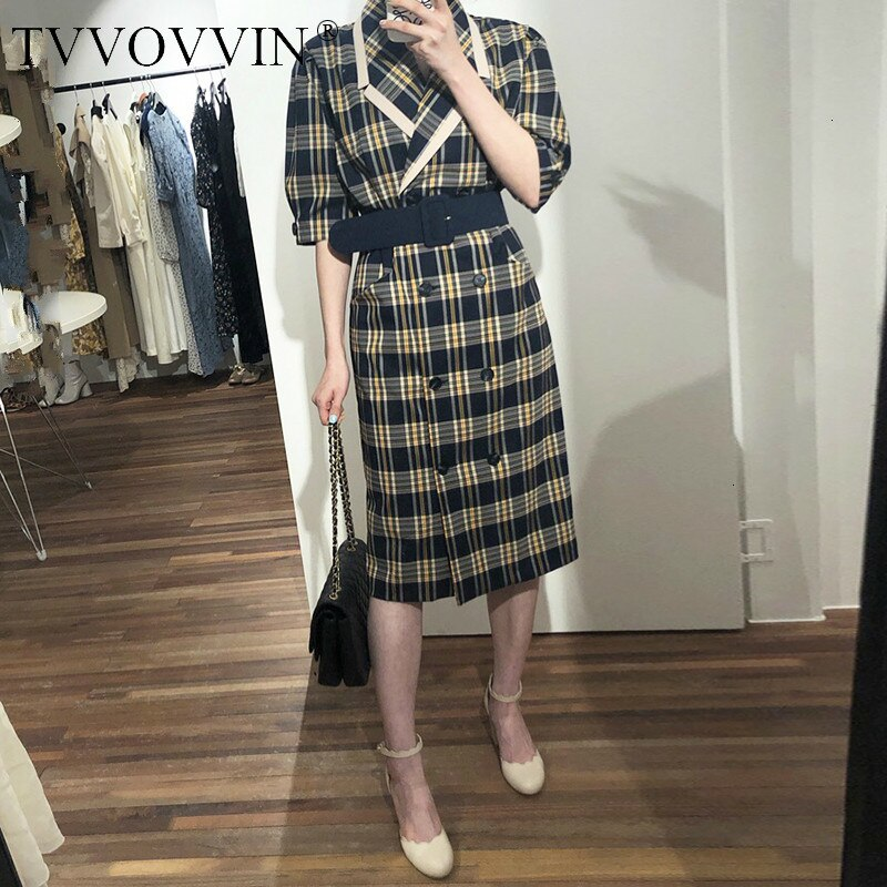 TVVOVVIN 19 Turn-down Collar Half Sleeve Korean Fashion Slim Waist With Belt Patchwork Color Women Korean Dress Tide X139 1
