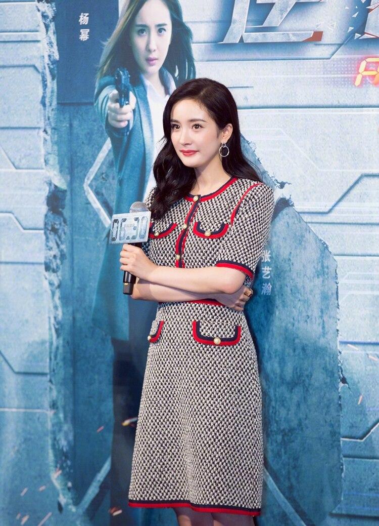 Fashion Designer Women Knitted Dress O-neck Button Half / Wrist Sleeve Runway Sweater Party Dress 3
