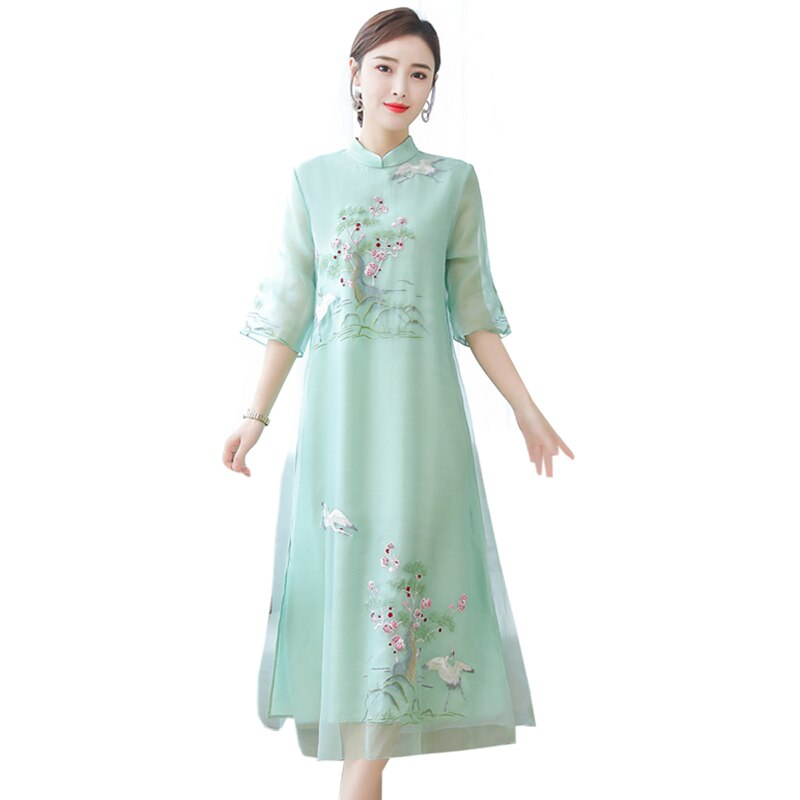 Embroidery Chinese Style Dress Vintage Half sleeve Large size 4XL Long dress Summer new fashion Voile Ankle-Length dress womens 1
