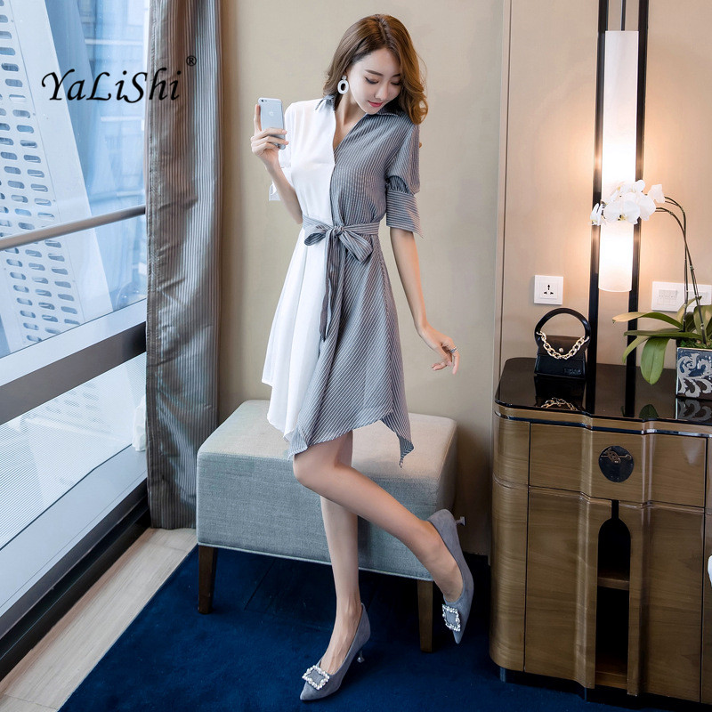 Plus Size Patchwork Asymmetrical Dress 18 Women Autumn White Striped Half Sleeve Knee-length Casual Party Dress Shirt Dresses 1