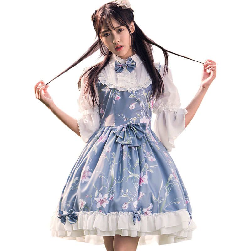 Fairy Princess Lolita Dress Vintage Chinese Style Floral Printed Half Sleeve Lolita OP Dress 1
