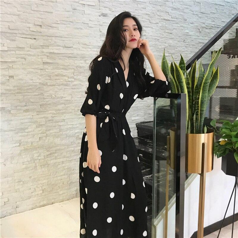 Fashion V-neck Ladies Long Dress Casual Half Sleeve Dot Dress Female New Dresses SuperAen Summer Women's Dress Korean Style 2