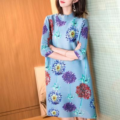 HOT SELLING Miyake fold fashion printing turntleneck half sleeve straight dress IN STOCK 1
