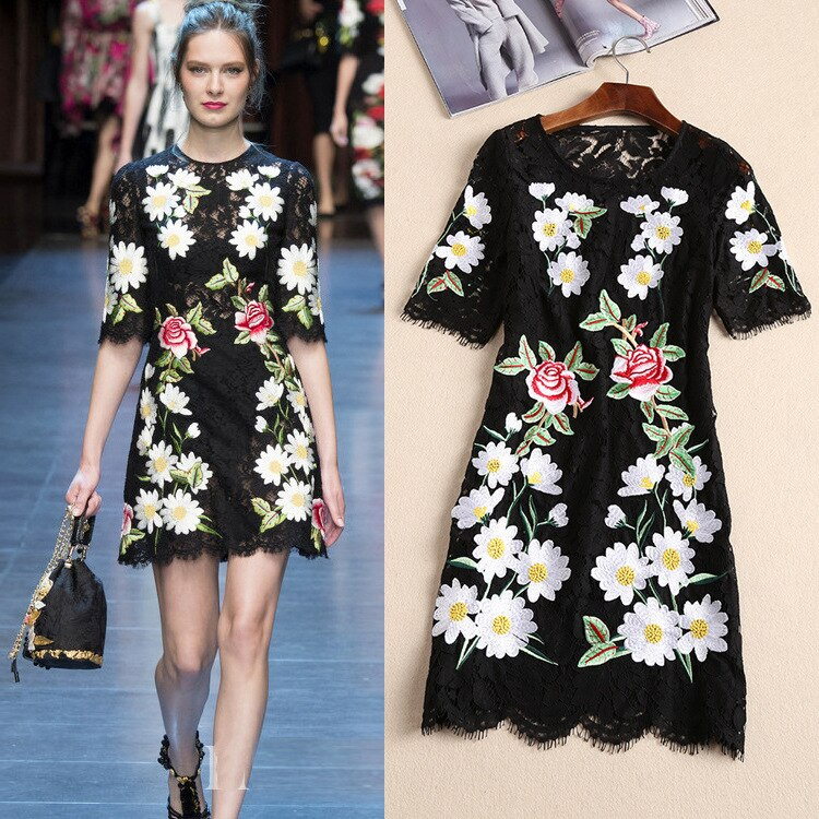 Women 19 Runway Floral Embroidered A-Line Lace Half Sleeve Dress Hot Dresses Slim Fit Girsl Black A798 1