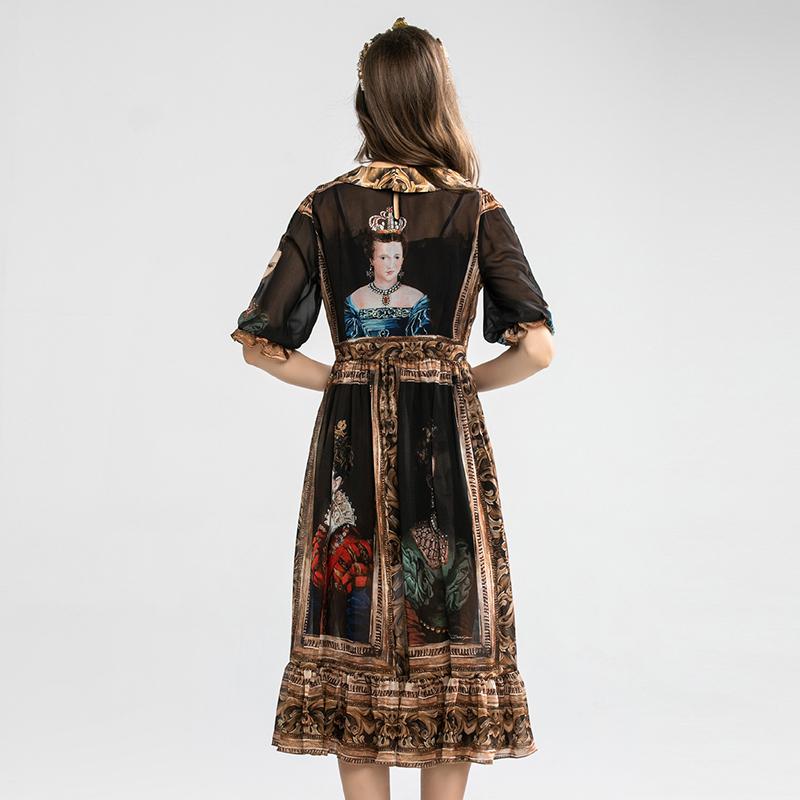 SEQINYY Vintage Dress  Summer Spring New Fashion Design Half Sleeve A-line Painting Printed Midi Black Chiffon Dress 2