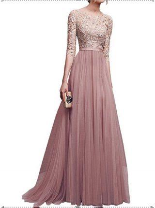 New Elegant Women Dresses Chiffon Female Floor-length Half Sleeve Maxi Dress Women Evening O-Neck Party Dresses