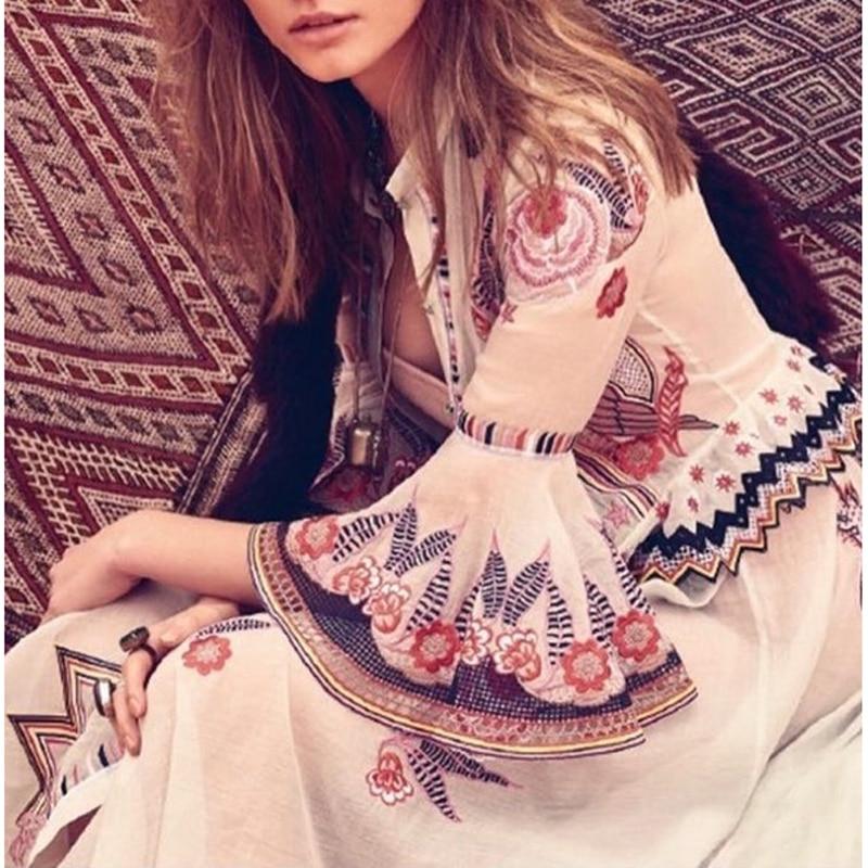 HIGH QUALITY New Fashion 19 Summer Runway Dress Women's Sweet Half Flare Sleeve Bow Collar Gauze Embroidery Flower Dress 1