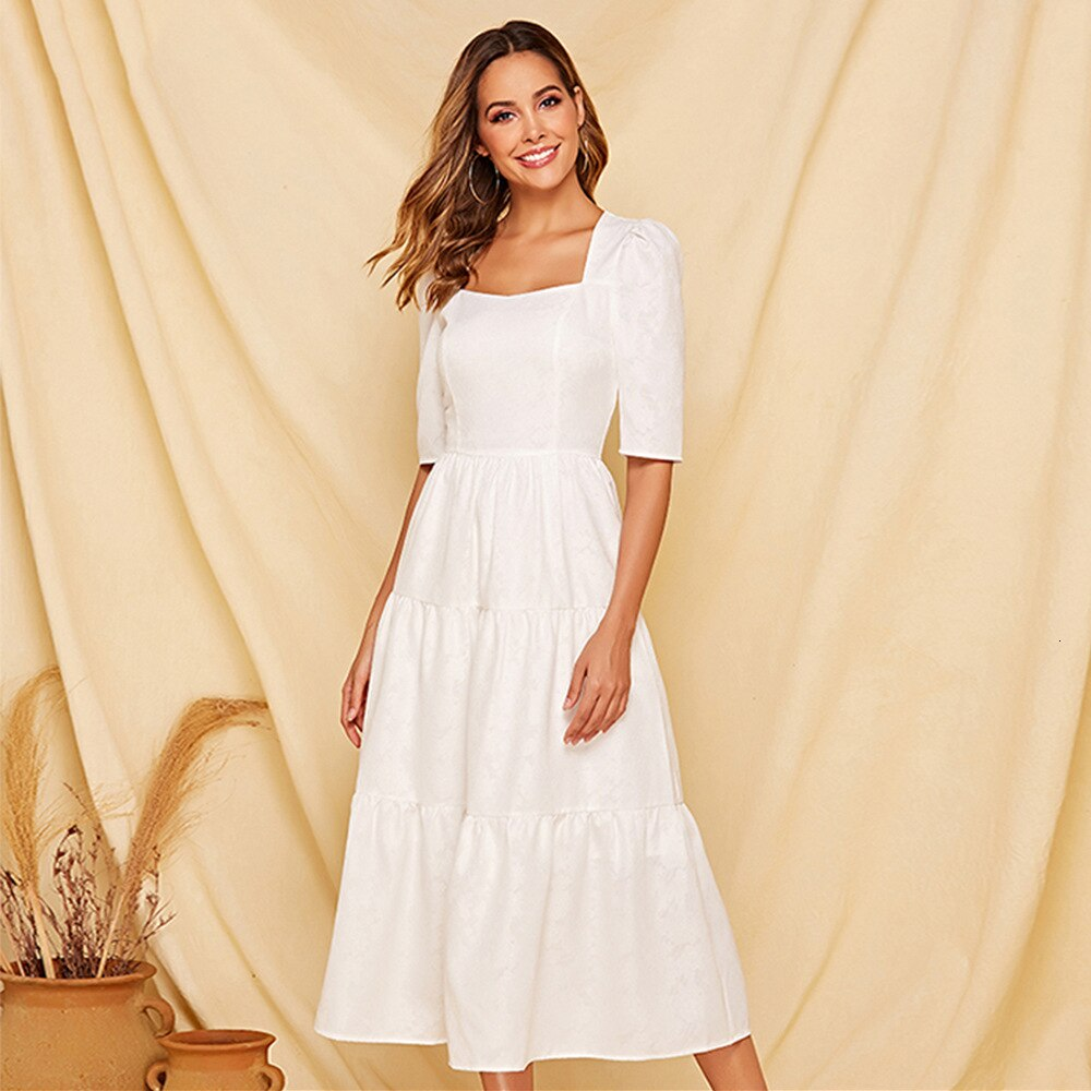 Summer A-line Elegant Temperament White Women Dress Square Collar Ladies Half Sleeve Maxi Dress Pure Color 19 Vestidos Largos 1