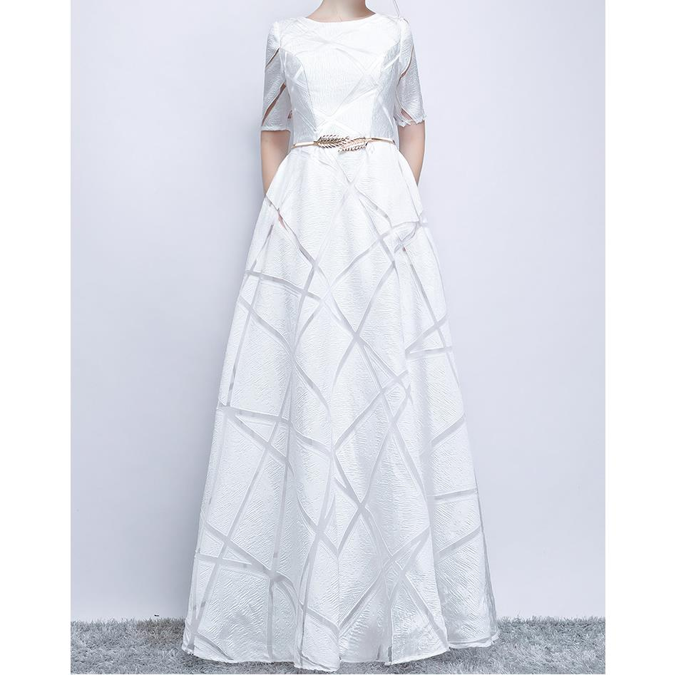 Elegant White Ball Gown Long Party Dress Casual Plus Size Dress Half Sleeve Round Dress 1