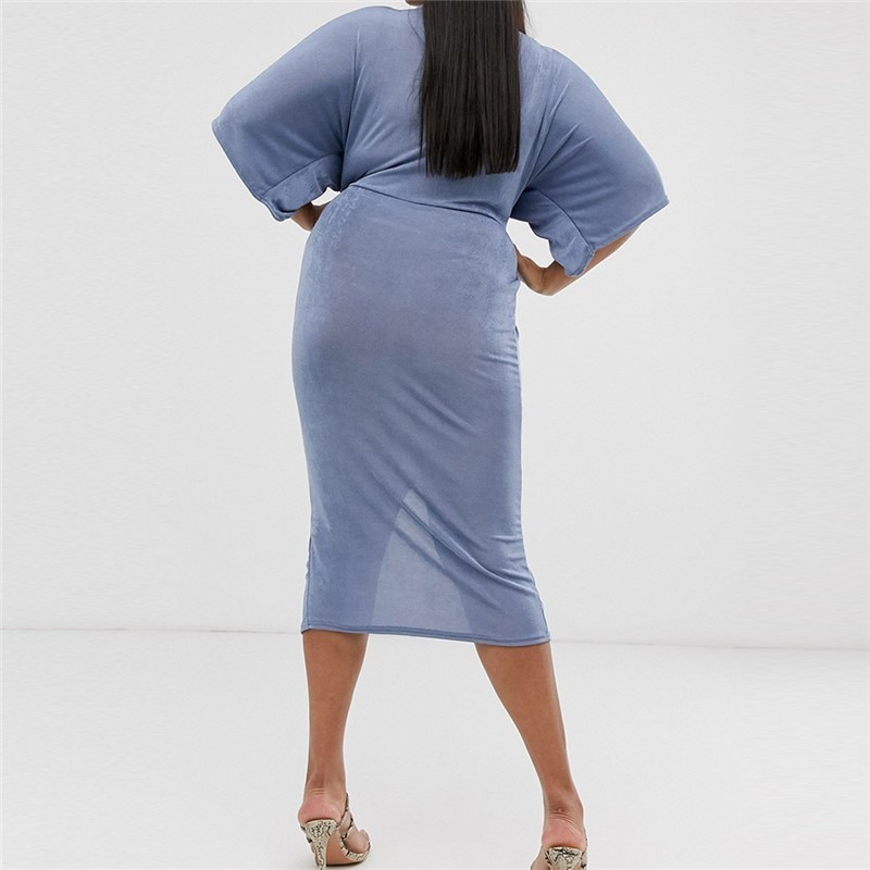 Plus Size Summer Fashion Plicated Solid Color Half Sleeve 3XL-7XL V-neck Overweight Woman Casual Sheath Dress Lady Long Dress 2
