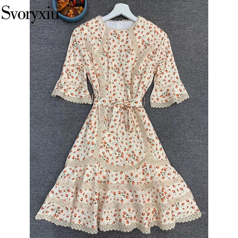Svoryxiu Runway Designer Autumn Flower Print Mini Dress Women's Fashion Half Sleeve Lace Embroidery Elegant Party Dresses 2