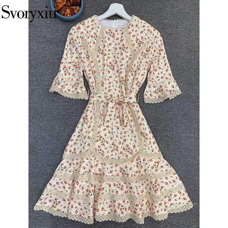 Svoryxiu Runway Designer Autumn Flower Print Mini Dress Women's Fashion Half Sleeve Lace Embroidery Elegant Party Dresses 2