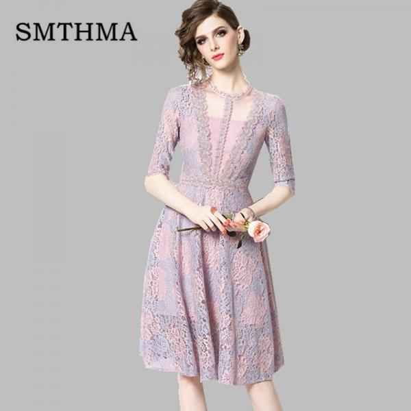 SMTHMA 19 New High-end Lace Dress Women Summer Half Sleeve Dresses Elegant Party Vestidos