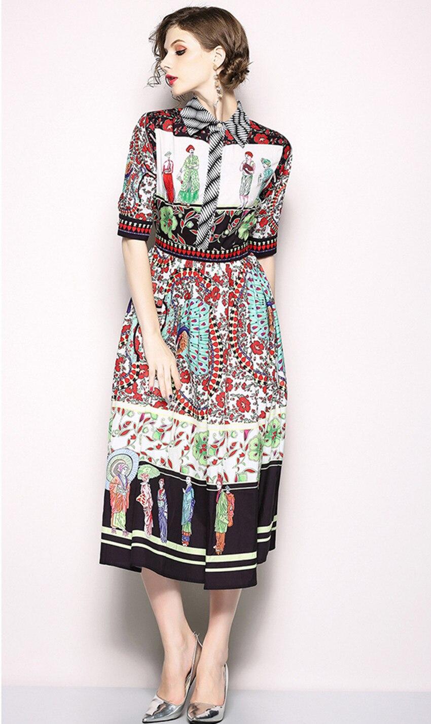 HAMALIEL Vestidos Summer Dress 18 Runway Turn Down Collar Print Flower Character Chiffon Vintage Half Sleeve Ladies Midi Dress 2