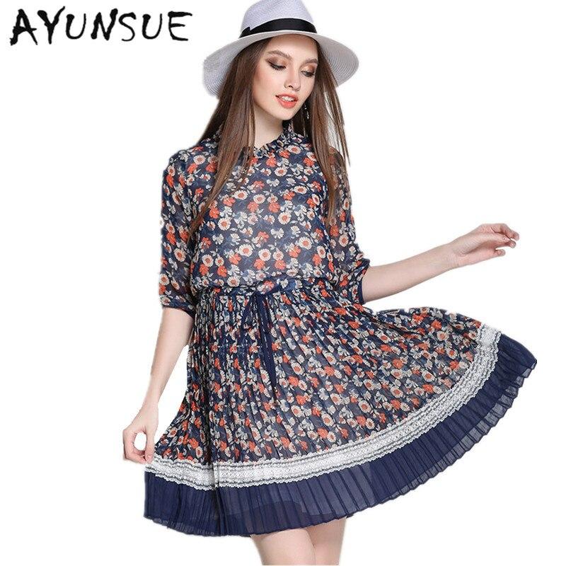 Half Sleeve Elegant Dress Women Chiffon Plus Size 5XL Blue Floral Dress Summer Dresses Casual Clothes Women Vestidos MujerFYY313 1