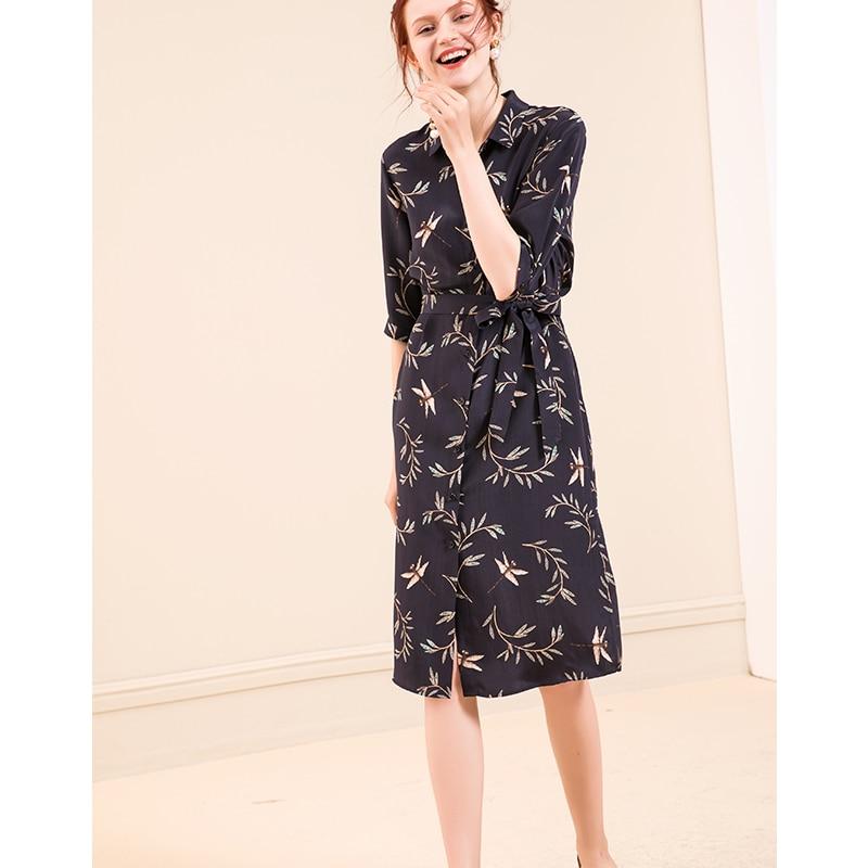Women Silk dress 23mm 100% Real silk Printed Knee length Heavy Silk Crepe Half sleeved Dresses for Women 18 Fall Winter New 3