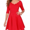Custom-made Women's Slim Flared Tunic Sweetheart Wavy Neckline Dress Ladies Half Sleeve High Waist A-Line Dresses Vestidos