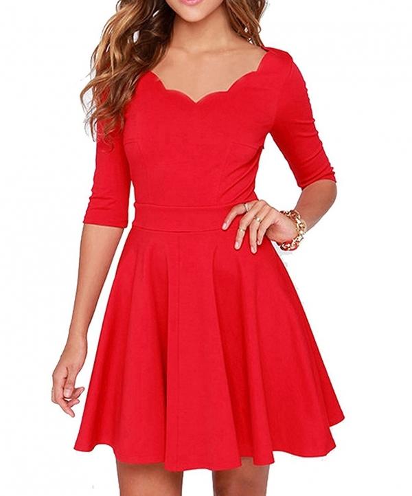 Custom-made Women's Slim Flared Tunic Sweetheart Wavy Neckline Dress Ladies Half Sleeve High Waist A-Line Dresses Vestidos