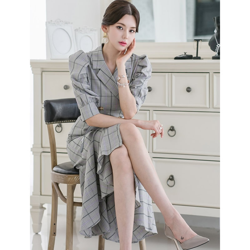 Summer Half Sleeve Vintage Knee-Length Cloth Double Breasted Sashes Notched Bodycon Plaid Fishtail Work Dress 2
