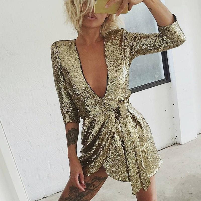 Women Summer V Neck Sexy Party Dress Half Sleeves Sequin Glitter Mini Dress Solid Short Gold Club Dresses Vestidos 3