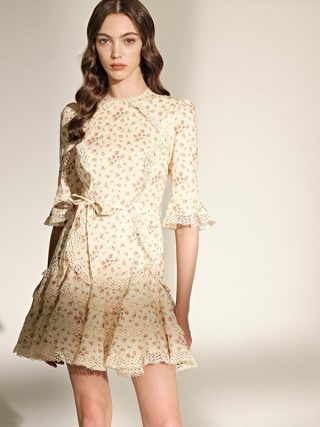 Prairie Chic Spring Boho Chic Women Floral Printed Lace Patchwork Ruffles Half Sleeve Fish Tail Dress dresses B031