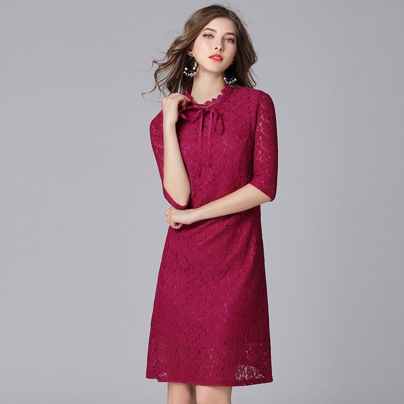 Queechalle Fuchsia Elegant Lace Dress for Women Bow Ties Collar Half Sleeve Women Dress 3XL 4XL 5XL Plus Size One-piece Vestidos 2