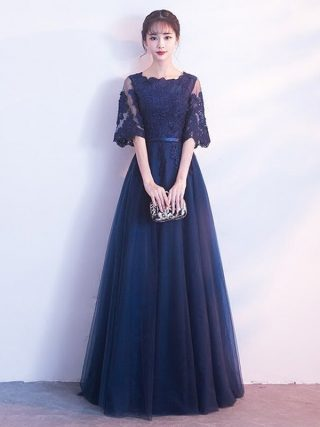 Navyblue Lace Banquet Evening Long Dress 19 Brand New Half Sleeve Dresses Elegant Princess Slim Long Vintage Style