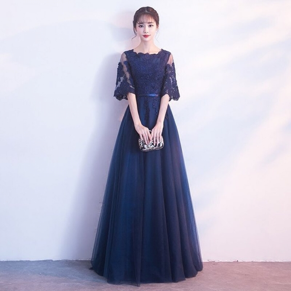 Navyblue Lace Banquet Evening Long Dress 19 Brand New Half Sleeve Dresses Elegant Princess Slim Long Vintage Style