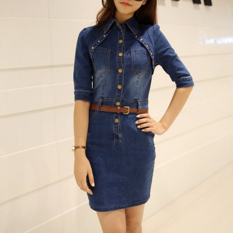 Fashion 19 Spring Rivet Backless Slim Fit Half Sleeve Wrap Denim Dress Women Streetwear Office Lady Belt Short Dress S-2XL 2