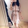 Women Mini Pleated Dress Snake Print Ruffle Half Sleeve Sweet Dress