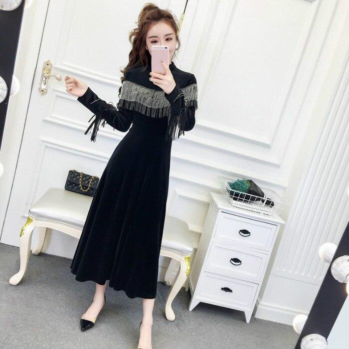 Joinyouth Tassel Half Turtleneck Mid-Calf Vestidos Women Velour High Waist Long Sleeve Dress Solid Slim Party Dresses 56787 2
