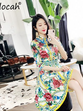 Delocah 19 Women Spring Summer Dress Runway Fashion Designer Half Sleeve Floral Print Beading Asymmetric Slim Elegant Dresses