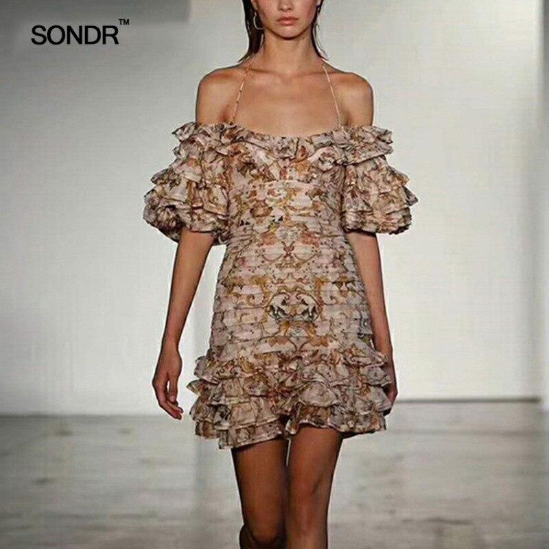SONDR Sexy Off Shoulder Dresses Women Strapless Lantern Half Sleeve Patchwork Ruffle Print Dress Female 19 Summer New 3