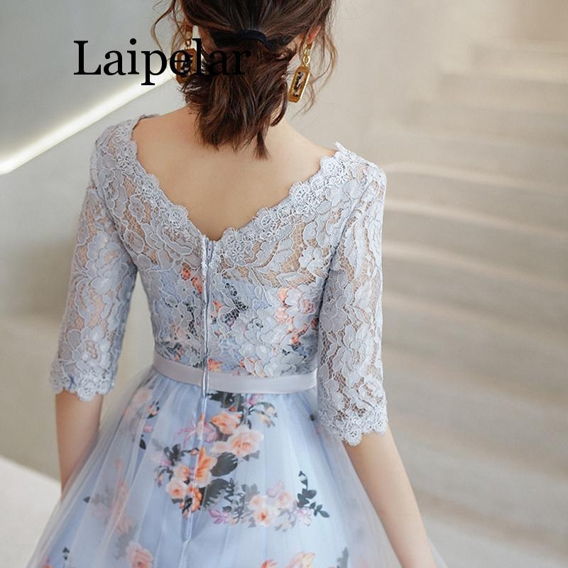 New Flower Elegant Dresses Short Lace Party Robe Soiree Half Sleeves Bride Dress 3