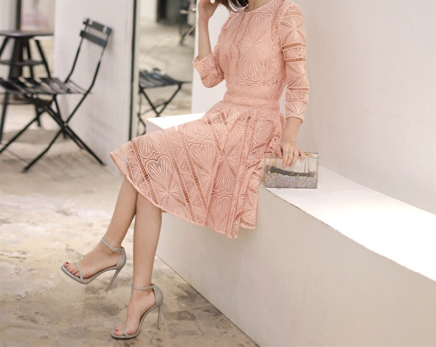 Women's Dresses Embroidery Lace Hook Flower Back Hollow Out Chic O Neck Half Sleeve Elegant Dress 3