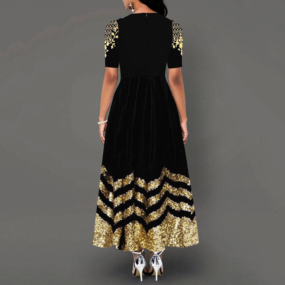 Women Round Neck Boho Dress Half Sleeve female elegant vintage floral printed a line pocket Black maxi dresses robe femme 19 2