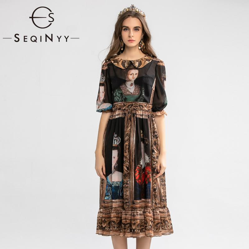SEQINYY Vintage Dress  Summer Spring New Fashion Design Half Sleeve A-line Painting Printed Midi Black Chiffon Dress 1