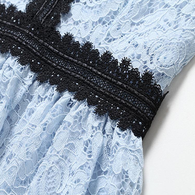18Fashion Ladies elegant long lace dress female half sleeve summer pinched waist longos vestidos cultivating party dress tunic 2