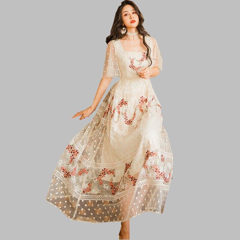 HAMALIEL Summer Women Mesh Holiday Dress 19 Elegant Floral Embroidery Half Sleeve Long Dress Vintage Square Collar Vestidos 1