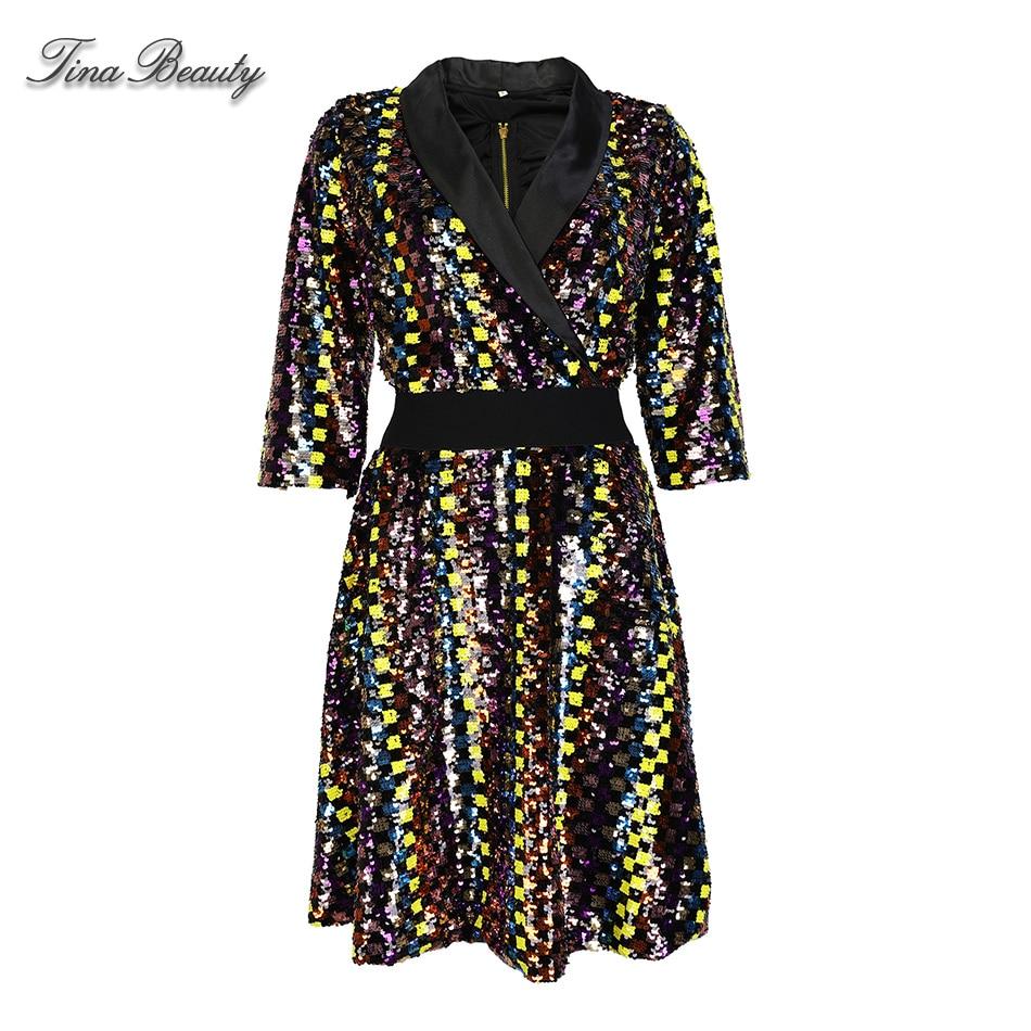 A Line Plaid Sequin Dress Female Autumn Elegant Glitter V-Neck Half Sleeve Mini Dresses Womens Party Dress Evening Vestido 1