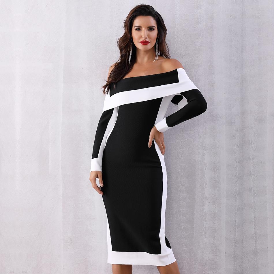 Seamyla New Long Sleeve Bodycon Bandage Dresses Women Vestidos 19 Runway Party Dress Midi Celebrity Sexy Clubwear Dress Slim 3