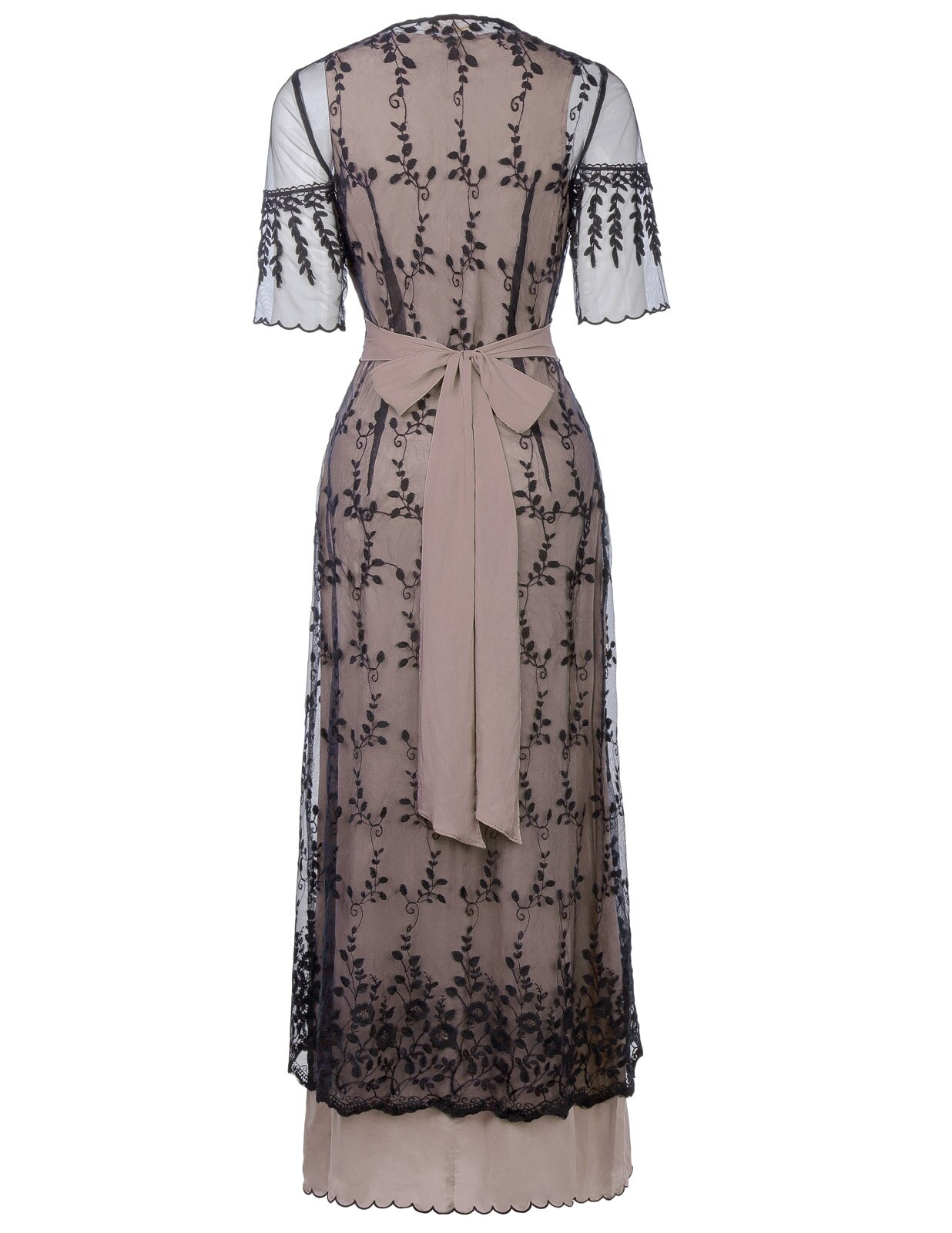Lolita floral Embroidery Mesh ankle length ladies dress Sexy Women Retro Vintage Victorian Style Half Sleeve V-Neck Lace Dresses