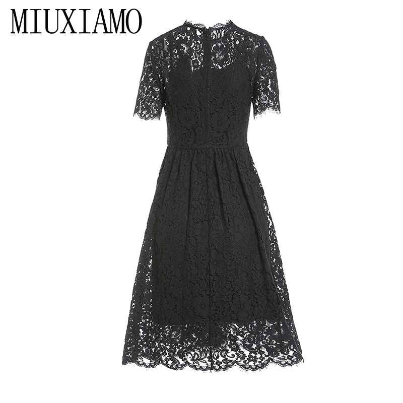 MIUXIMAO 19 New Fashion Runway Summer Dress Women's Retro Half Sleeve Flower Diamonds Embroidery Lace Vintage Dress vestidos 2