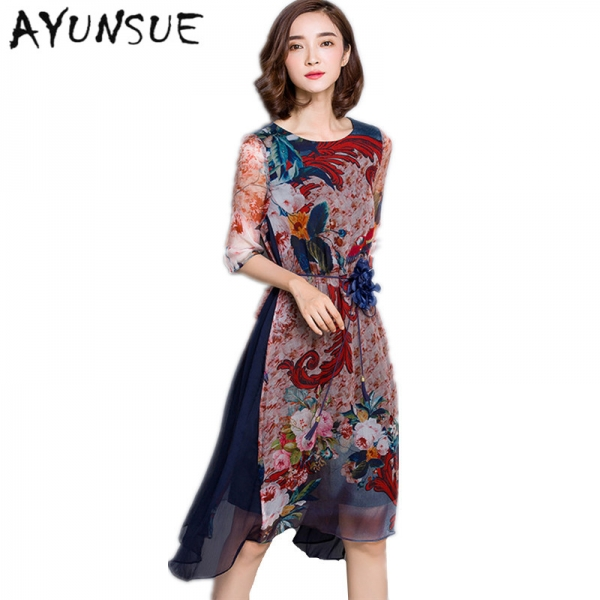 O-neck High Quality Vestidos Vintage Dress Floral Print Silk Dress Half Sleeve Loose Summer Dresses Casual Women Clothing FYY341